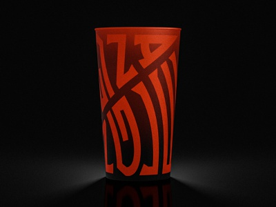 ANGLE PIZZA - Cup Packaging 3D render typography design typography logo restaurant pizza brand identity brand design branding brand packaging design package design packagedesign packaging pack blender blender3d 3d render 3d art 3d render cup