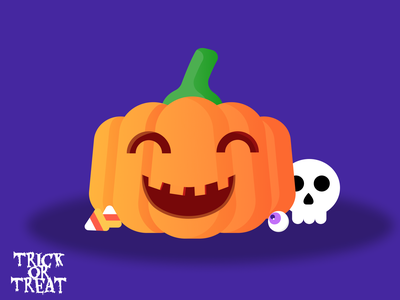 Happy Halloween skull candy corn candy trick or treat halloween pumpkin illustration figma design