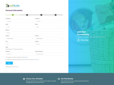 SignUp form page UI/UX design mockup