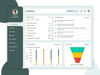 Sales Dashboard branding design illustration adobe xd illustrator crm mockup creative redesign dashboard ui dashboad applicaiton app web application ux uiux ui