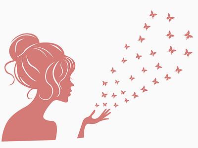 Girl wall wallpaper pink ux uiux ui vector illustration design butterflies butterfly girls girl illustration girl character ilustrator wallpaper wall girl