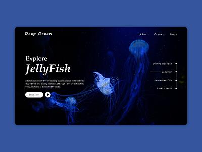 Deep Ocean shot illustrator jellyfish jelly ocean deep redesign website typography web illustration mockup branding uiux design uxdesign uidesign ui  ux ux ui