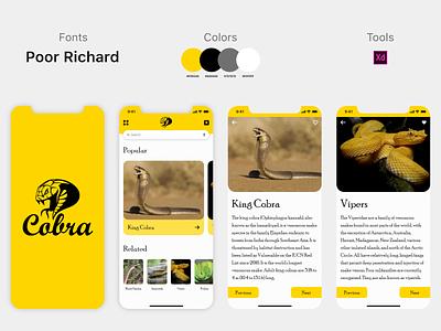 Cobra app design app design appdesigner snake app snake logo snakes snake appdesign kingcobra mamba cobra app ui  ux typography mockup illustration design branding uiux ux ui