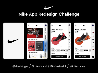 Nike App Redesign mobile app ios application intraction nike app animation redesign typography mockup design branding uiux ux ui