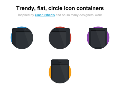 Made with CSS only -- no images css flat circle trendy ui icons iphone ipad