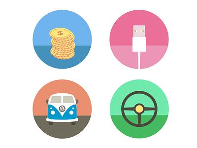 Flat Illustrations flat illustrations coins usb van wheel