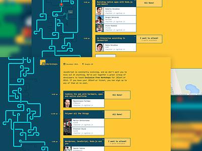 JSconf.ar Workshops conference javascript js workshops landing page illustration