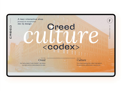 Creed Culture Codex Website landing page animation 3d studio careers team office interaction design development agency culture web web design website minneapolis minnesota mn