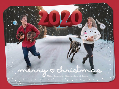 Christmas Card 2020 festive dog cat 2020 print card winter snow xmas presents gifts reindeer santa christmas holiday greetings