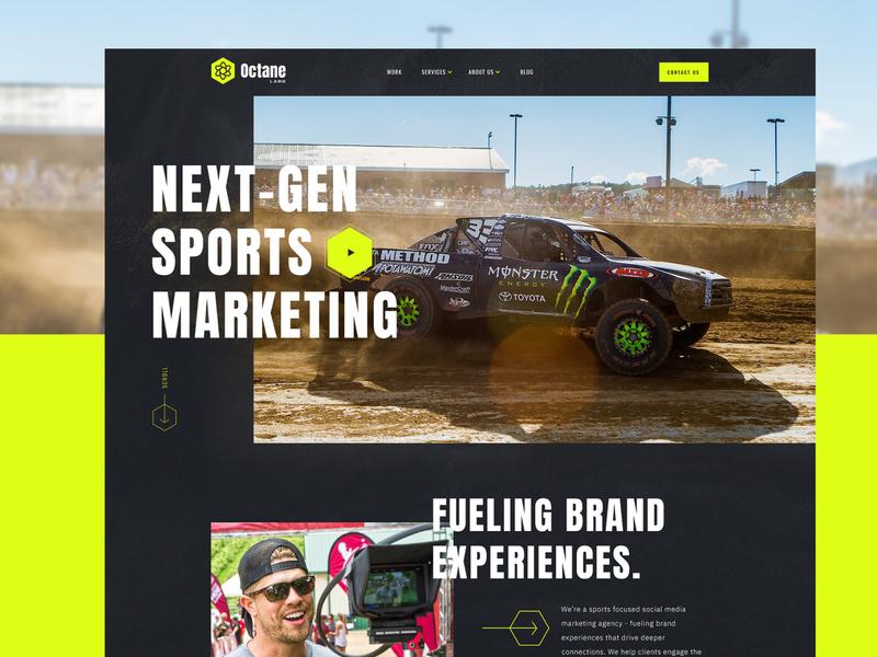 Sports Marketing Agency Site team game competition motorsport studio racing ui landing minneapolis minnesota mn action sports web design sports marketing agency