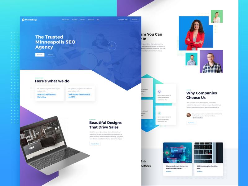Agency Website colorful freelance business ppc development firm social media ui landing seo marketing studio minneapolis minnesota mn creative agency web design