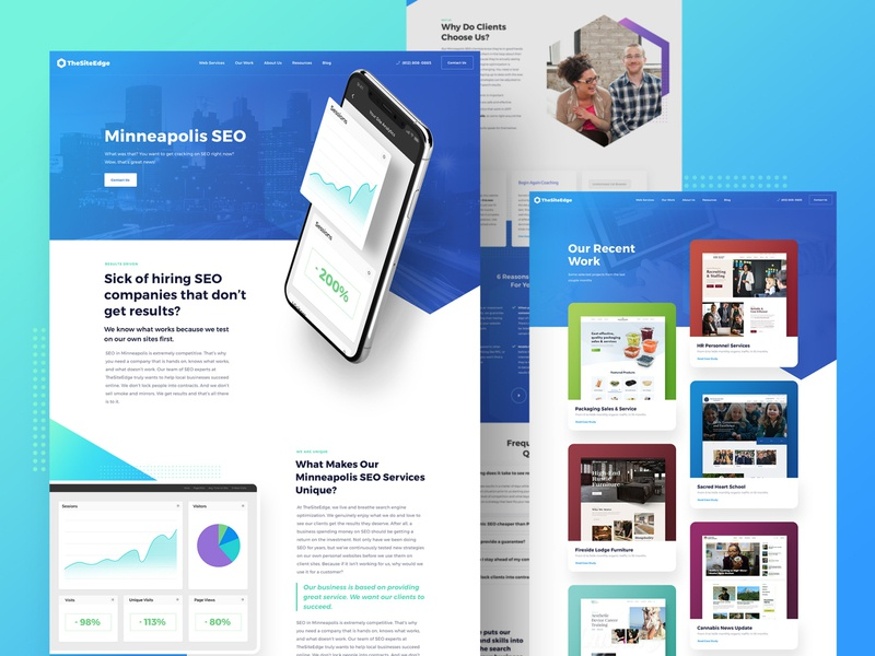 Agency Website portfolio work gallery social media ui landing seo marketing studio ppc development firm minneapolis minnesota mn creative agency web design colorful freelance business