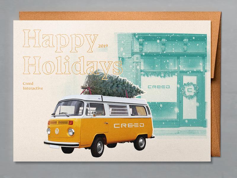 Agency Holiday Card minneapolis minnesota mn corporate company presents gifts vw bus volkswagen festive santa greeting xmas winter snow holiday print christmas card