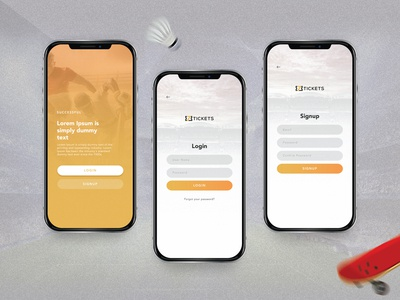 Login & Signup Screens - Online Ticket Booking App