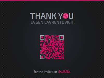 Hi! black purple flat first shot invite russia invitation first qr thank you hello debut