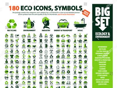 big set of 180 eco icons
