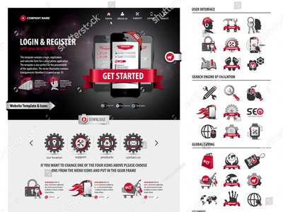 100% pen tool website template and icon set