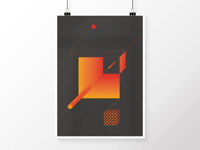 Geometric Composition 9 graphite grey orange red black geometric art round circle squares tubes square geometric poster illustration digital graphicdesign modern minimalistic homedecor abstract
