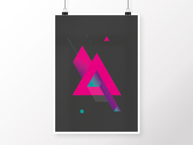 Composition 9C triangle turquoise violet purple neon synthwave black graphite design illustration geometric art geometric art poster modern minimalistic homedecor graphicdesign digital abstract