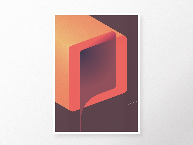 Composition 13 illustrator digital homedecor poster modern minimalistic fold orange brown symmetric vectorart vector geometric art abstract