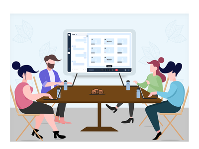 illustration - Team meeting clean graphic design art flat logo minimal illustrator vector illustration design