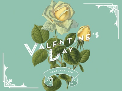Valentine's Day poster floral flowers roses valentines day poster botanical vintage collage digital collage