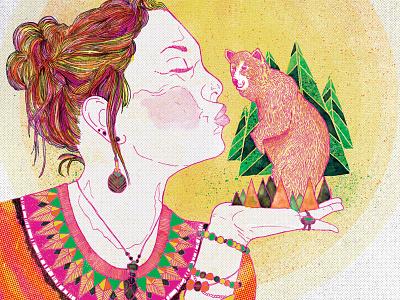 Girl with bear illustration animals gig poster