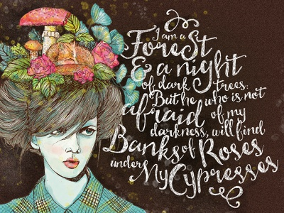 The Forest forest flowers illustration portrait poetry sktchy