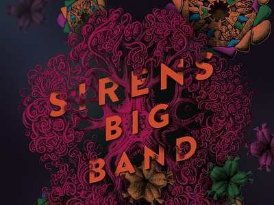 Sirens Big Band gig poster big band digital collage gig poster music ocean sea collage