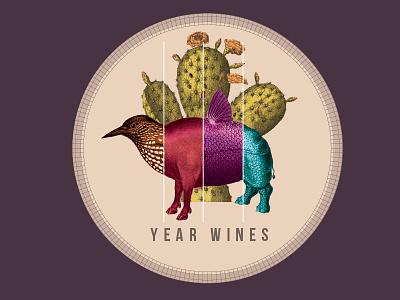 Year Wines - 2015 Mataro alcohol illustration digital collage collage exquisite corpse animals wine label wine
