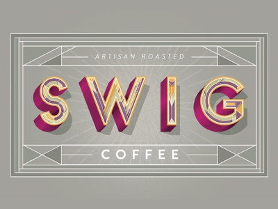 Swig Coffee label option 1 typography lettering label packaging coffee roasters coffee