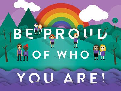 Wear It Purple landscape pixels queer gay purple poster