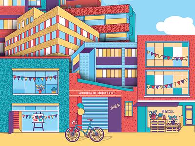 Street Scene street buildings vector illustration