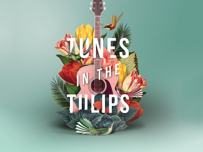 Tunes In The Tulips - gig poster digital collage gig poster collage music botanical