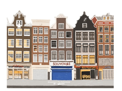 Lost in Amsterdam street cartoon illustration town netherlands amsterdam building elevation artwork architect drawing illustration