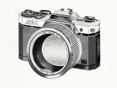 Hand drawn camera deline drawing procreate capture clean detailed hand drawn camera design illustration