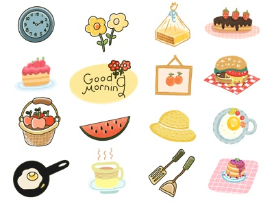 Good Morning Stickers procreate sticker design hand drawn stickerartist doodle cartoon drawing illustration