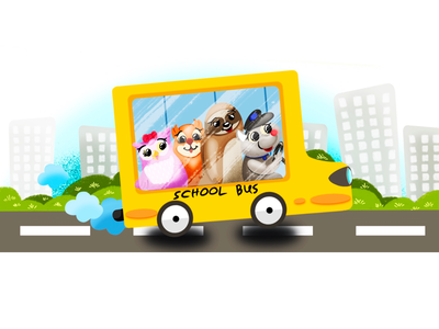 School bus procreate drawing kid character otw school illustration cartoon