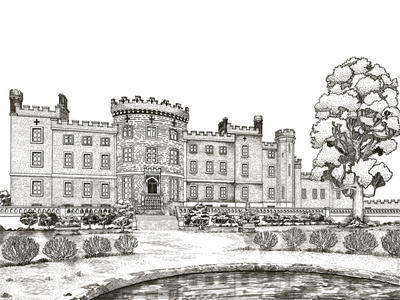 Markree Castle card wedding design antique architectural history detail castle procreate hand-drawn sketch