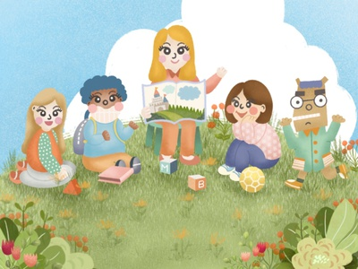 Little garden on cloud 9 school kids illustration charecter design procreate cartoon cartoon illustration illustration