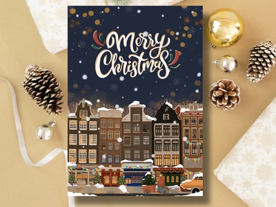 Christmas Postcard handmade card hand drawn procreate drawing illustration authentic card amsterdam dutch card amsterdam card greeting card winter card christmas card holiday card christmas postcard christmas postcard