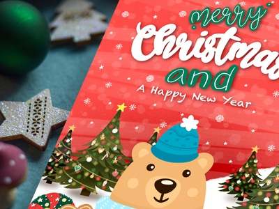 Happy New Year with Bear Postcard D.jpg