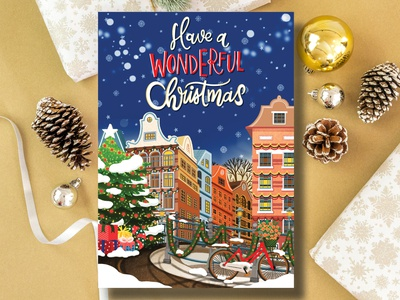 Have a wonderful Christmas Postcard etsy shop illustration creative amsterdam illustrator amsterdam illustrator christmas postcard merrychristmas christmas card