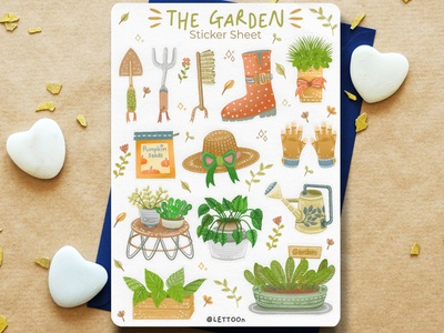The Garden Sticker Sheet charecter design kids illustration hand drawn drawing procreate design cartoon illustration cartoon illustration flower illustration plant illustration tree illustration