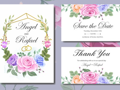 Wedding Invitation Card with Beautiful Flowers adn Leaves