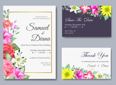 Watercolor Floral Wedding Invitation with Beautiful Flowers