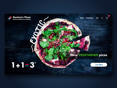 Domino's landing page concept navy blue blue graphic ingakot vegetarian web webdesign graphicdesign exotic photography dominos design ui uxui uxuidesign pizza