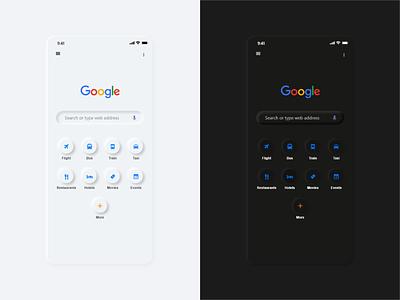 Google search app ( soft ui Neumorphism) challenge softui softuiuidesigners uikit rahulboharpi