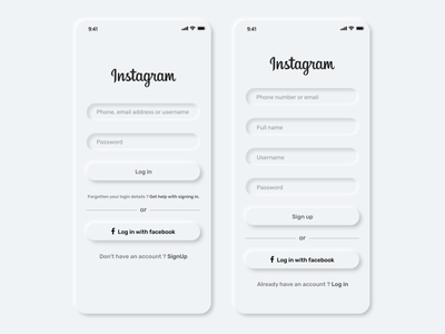 Neumorphism ui design - Instagram Login and Sign up screen branding uplabs uplabs challenge redesign facebook musicapp uikit rahul4xd freeuikit file manager softuiuidesigners