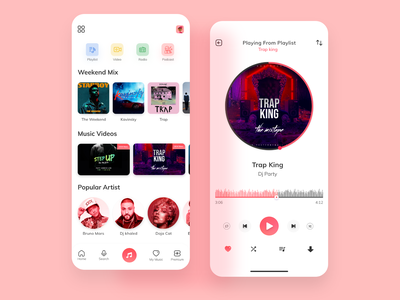 Music app ui design uiux branding adobexd illustration landing page frontend uidesign webdesign uxdesign music art music player music app